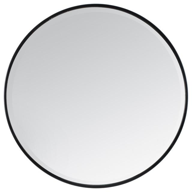 Asti Round Bevelled Wall Mirror, Black, 90 cm