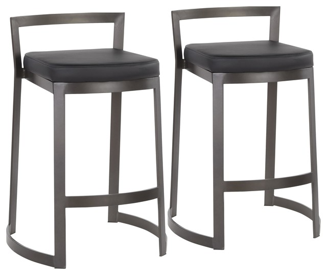 Fuji DLX Industrial Counter Stool, Black Faux Leather Cushion, Set of 2