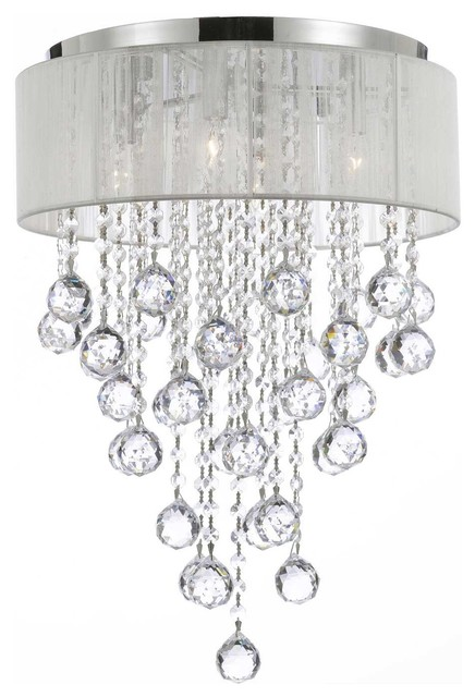 4 Light Crystal Chandelier, Chrome And White Shades Contemporary Flush Mount