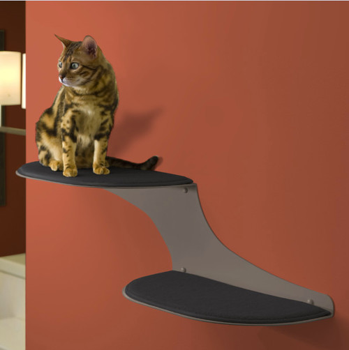 Refined Feline Cat Clouds Cat Shelf, Titanium