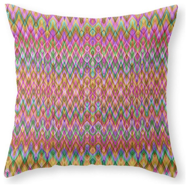"Missoni Style Throw Pillow, Indoor Cover, 18""x18"" With Pillow Insert."