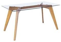 Mesa de cristal Riclkyi 160x90, mesa de comedor
