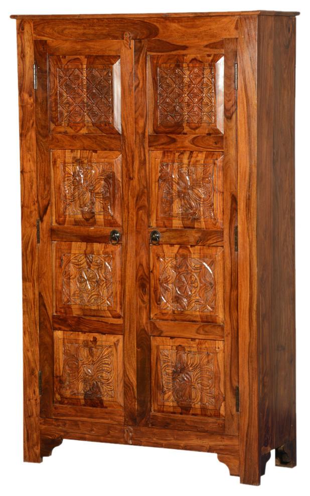 Noma Solid Wood Artisan Standing Double Door Armoire ...