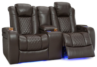 Lane Anthem Home Theater Seating Leather Power Recline Loveseat, Brown
