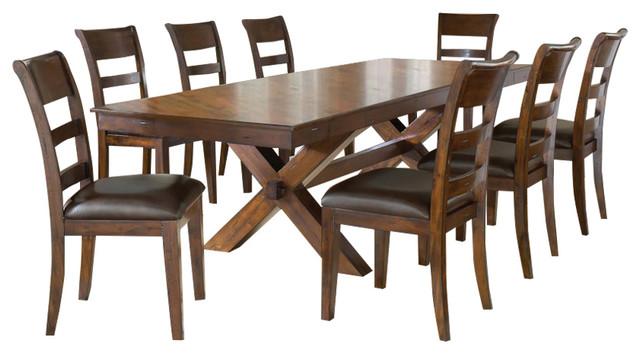 Hillsdale Park Avenue 9-Piece Trestle Dining Room Set In Dark Cherry.