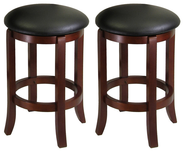 Stupendous Winsome Wood Transitional Antique Walnut Solid Wood Bar Stools Set Of 2 Pabps2019 Chair Design Images Pabps2019Com