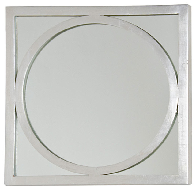 Ovation Hollywood Regency Silver Square Circle Wall Mirror.