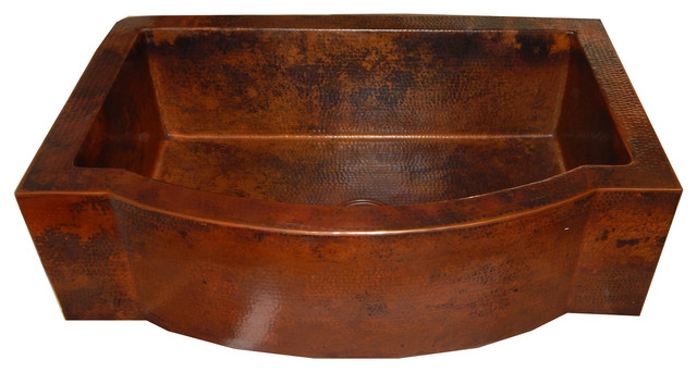 Apron Front Farmhouse Kitchen Single Bowl Mexican Hand Hammered Copper Sink  Traditional Kitchen Sinks
