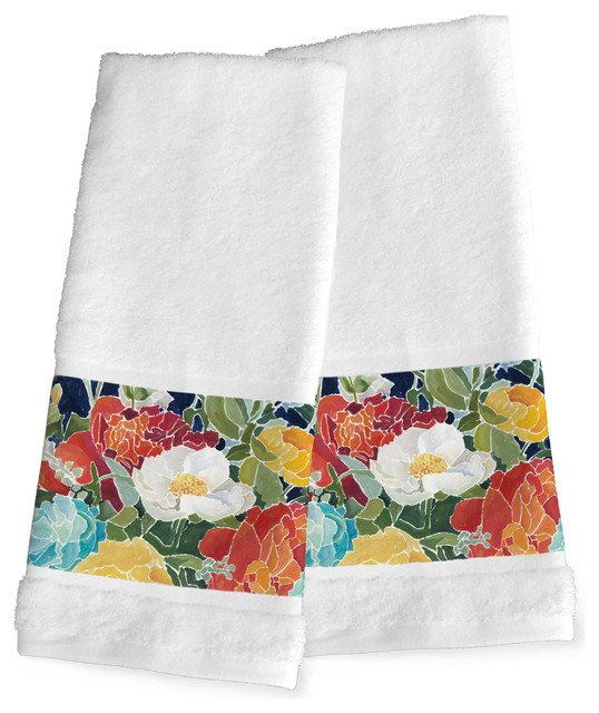 Laural Home Midnight Floral Hand Towels, Set of 2