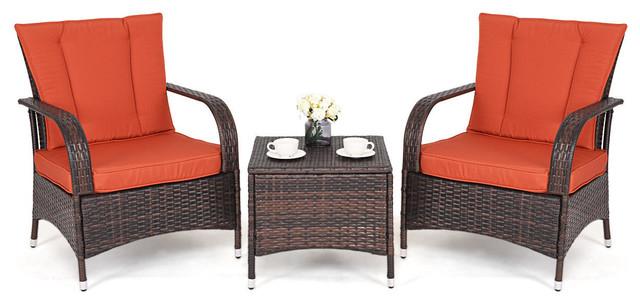 Costway 3PCS Outdoor Patio Mix Brown Rattan Furniture Set Seat Cushioned Orange