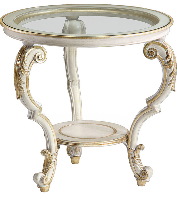Antique White Accent Table Mediterranean Side Tables And End Tables By Inviting Home Inc