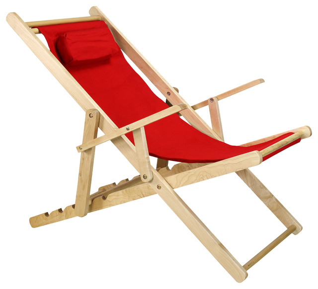 Sling Chair, Red Contemporary Outdoor Chaise Lounges