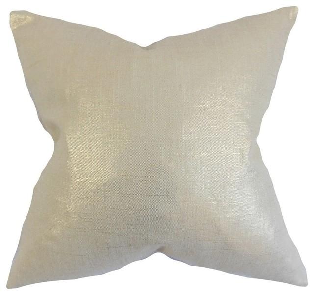 "Florin Solid Pillow, Antique Gold, 24""x24""."