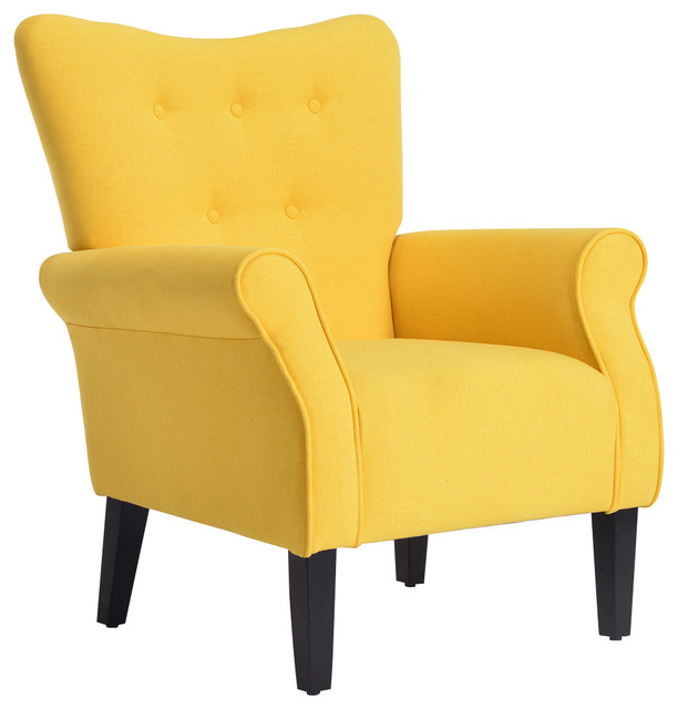 High Wingback Linen Armchair, Citrine Yellow.