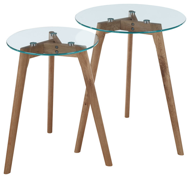 Convenience Concepts Clearview Nesting Round End Tables Natural 2 Piece Set