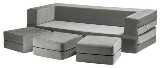 Zipline Convertible Sofa Bed And Ottomans With Washable Cover, 4-Piece Set, Pewt.
