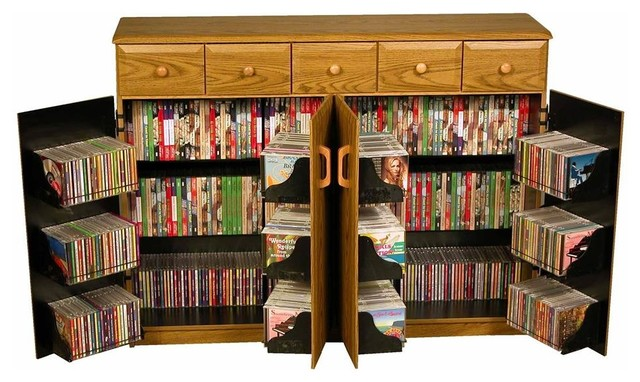 Double Wide Media Console With Top Load, Oak Finish And Black