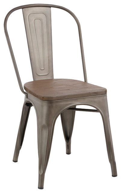 Industrial Wood Metal Antique-Style Rustic Distress Dining Chairs, Set Of 4.