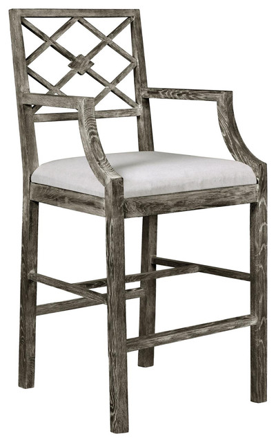 Armin French Country Gray Limed Counter Stool