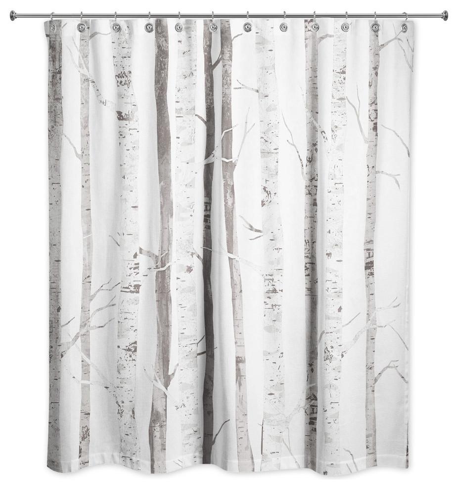 White Birch Trees 71x74 Shower Curtain