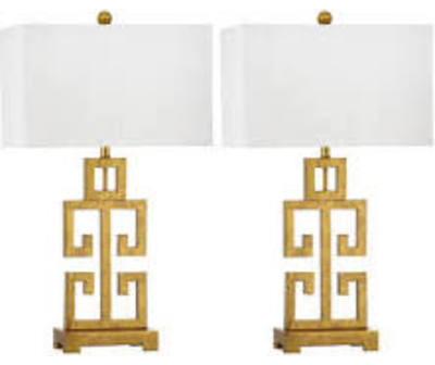 Captivating Greek Key Table Lamp   White Shade And Antique Gold Base ZMT LIT4305A (Set