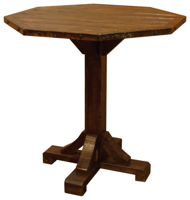Rustic Barn Wood Style Timber Peg Bistro Table Bar Height