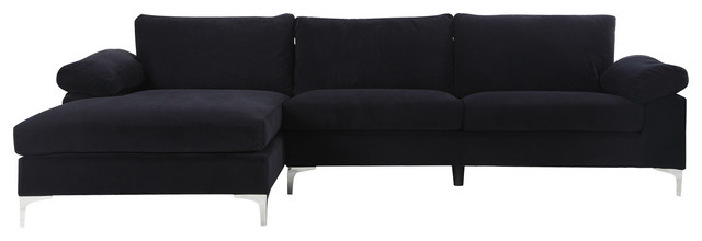 Modern Large Velvet Fabric Sectional Sofa, L Shape Couch With Extra Wide  Chaise