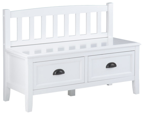 Burlington Solid Wood Entryway Storage Bench With Drawers, White
