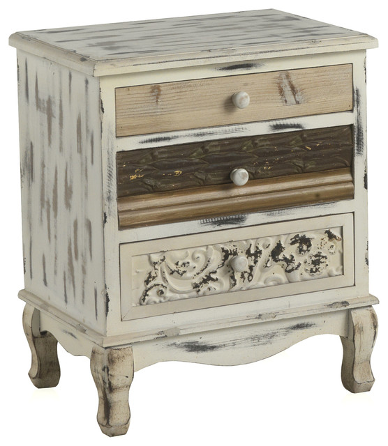 Whitewashed Wooden Bedside Table