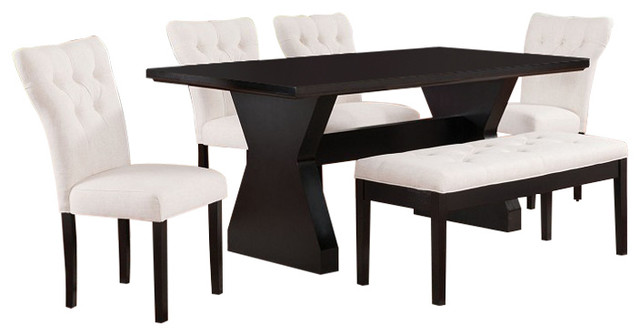 Efie Espresso Dining Table With Linen Parson Chairs, 6 Piece Set, Beige  Transitional