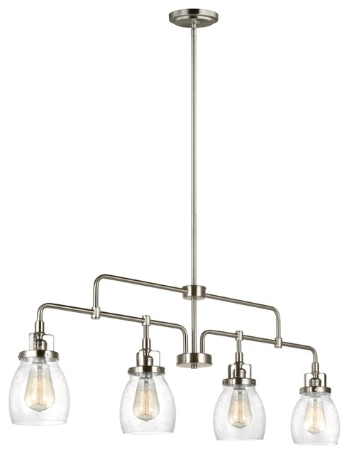 Industrial Style Glass 4-Light Kitchen Island Pendant