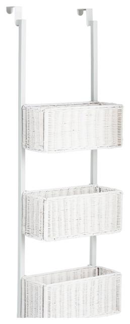 Hazel Over, The, Door 3 Tier Basket Storage, White Contemporary Closet
