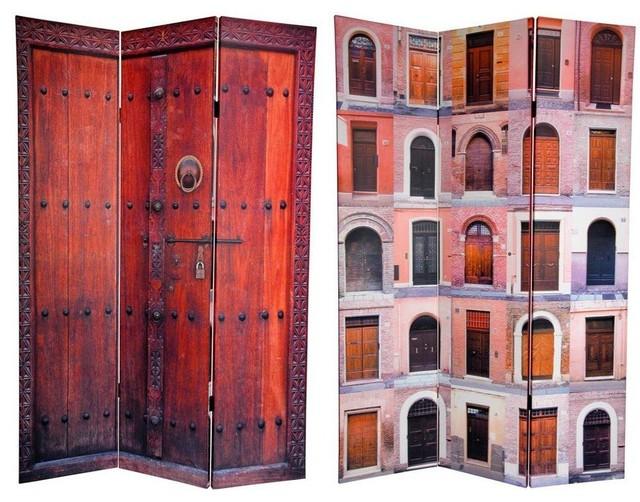 Tall Double Sided Doors Canvas Room Divider mediterranean-screens-and- - 6 Ft. Tall Double Sided Doors Canvas Room Divider - Mediterranean