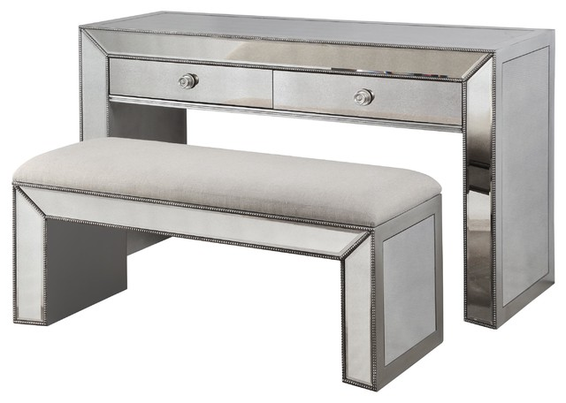 2-Piece Vanity Console Table With Bench Set, Silver and Mirrored Inlays  contemporary- - 2-Piece Vanity Console Table With Bench Set, Silver And Mirrored