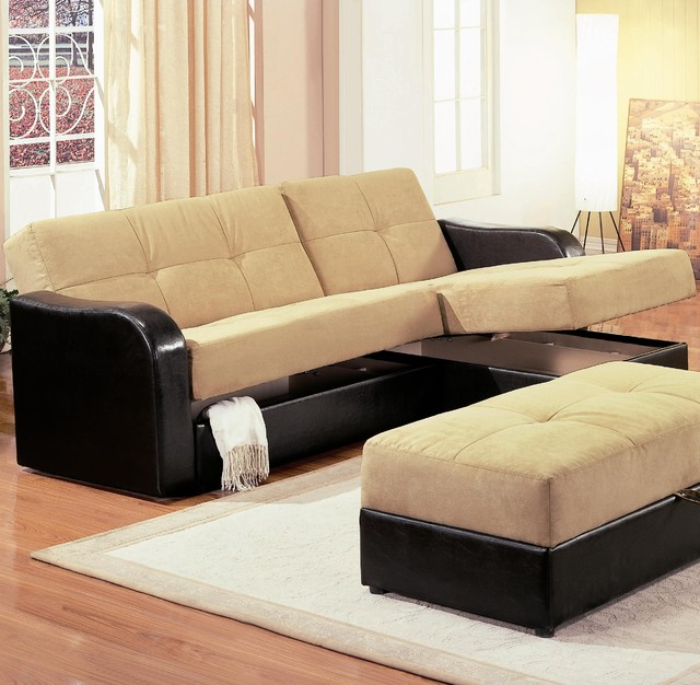 Kuser Contemporary Chaise Sofa Sleeper Sectional with Storage by Coaster contemporary sectional sofas san francisco