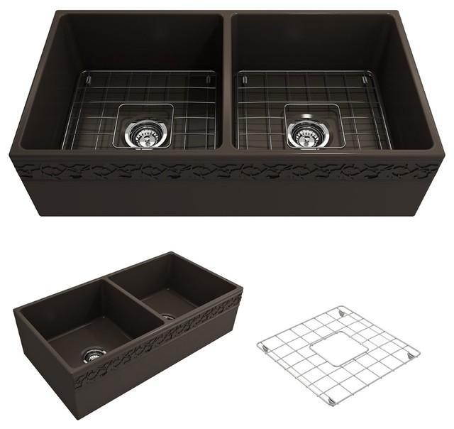 Bocchi Vigneto Apron Front Matte Brown 36-Inch Double Bowl Kitchen Sink