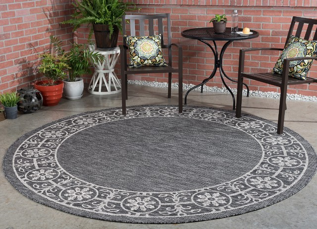 Varrock Easy Care Indoor Outdoor Border Area Rug Contemporary