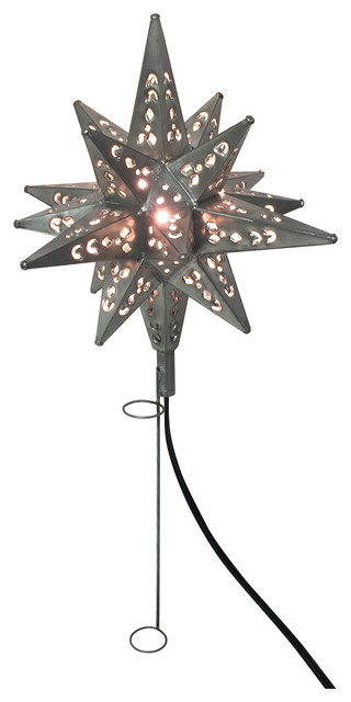 Tin Moravian Star Light Tree Topper, Pewter - Tin Moravian Star Light Tree Topper - Traditional - Christmas