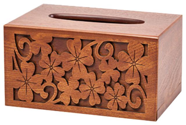 Handmade tissue box cover wood rectangular napkin holder Golden decor