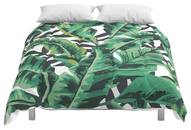 Society6 Tropical Glam Banana Leaf Print Comforter, Full, 79x79