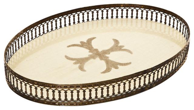 Signature oval fleurs de lis print serving tray with glittering border cream mediterranean - Fleur de lis serving tray ...