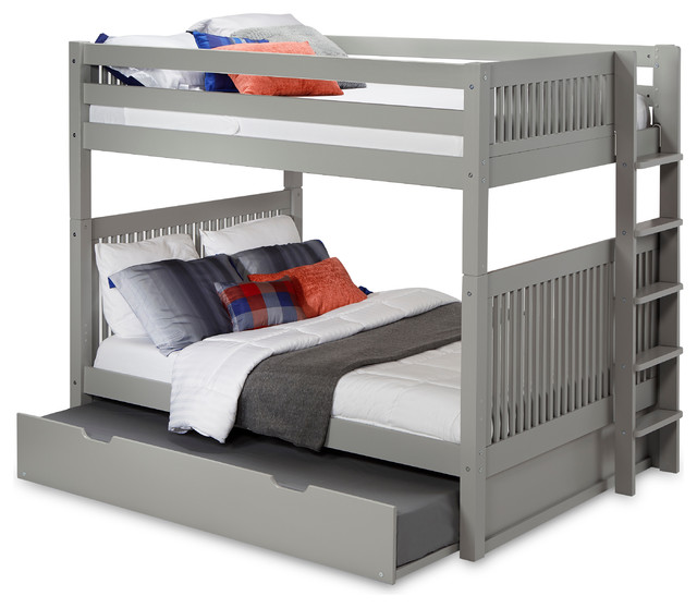 Gregor Full-Size Bunk Bed With Twin Trundle, Gray.