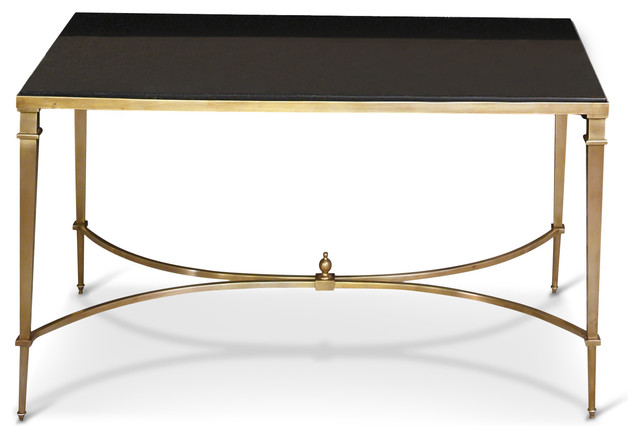 Antibes French Art Deco Regency Style Brass Black Granite End Table  Transitional Side Tables