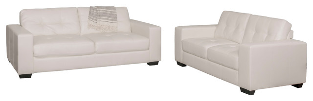 Corliving Club 2-Piece Tufted White Bonded Leather Sofa Set.