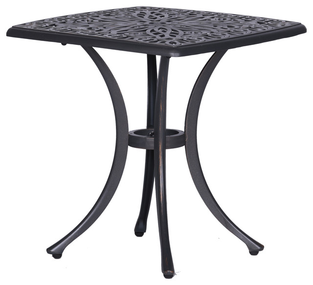 Athens 21 Inch Side Table In Gunmetal Gray Outdoor End Table