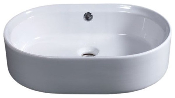 "22"" Oval Ceramic Above Mount Basin Vessel Sink."