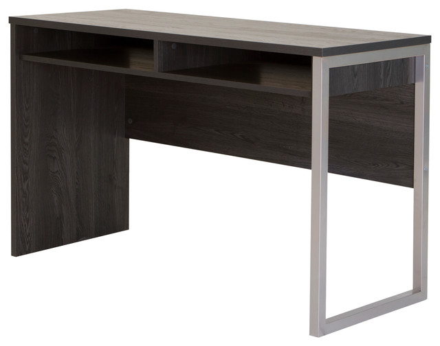 South S Interface Desk With Storage Gray Oak Modern Desks And Hutches