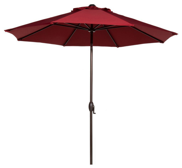 Abba Patio 9u0027 Sunbrella, Auto Tilt And Crank, Red Contemporary Outdoor