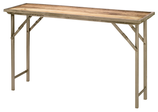 Folding Sofa Table Campaign Folding Console Table Natural