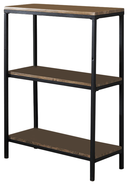 Gray Wood Black Metal Frame 3 Tier Shelf Storage Home Office Bookcase